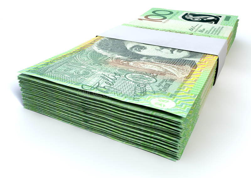 Australian One Hundred Dollar Notes Bundles. A stack of bundled one hundred australian dollar notes on an isolated background stock photo
