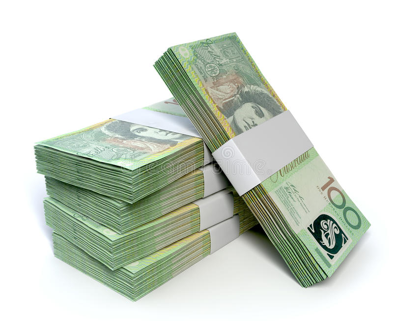 Australian One Hundred Dollar Notes Bundles. A stack of bundled one hundred australian dollar notes on an isolated background royalty free stock images