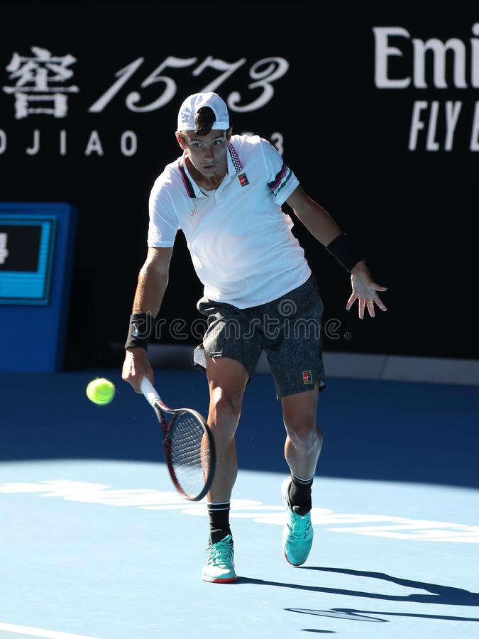 2019 Australian Open champion Lorenzo Musetti of Italy in action during his Boys` Singles final match in Melbourne Park. MELBOURNE, AUSTRALIA - JANUARY 27, 2019 stock photography