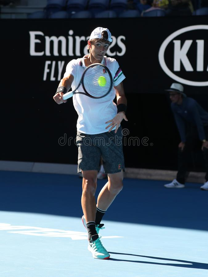 2019 Australian Open champion Lorenzo Musetti of Italy in action during his Boys` Singles final match in Melbourne Park. MELBOURNE, AUSTRALIA - JANUARY 27, 2019 royalty free stock photo