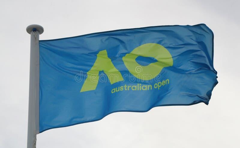 The Australian Open flag during 2019 Australian Open in Melbourne Park. MELBOURNE, AUSTRALIA - JANUARY 27, 2019: The Australian Open flag during 2019 Australian royalty free stock images