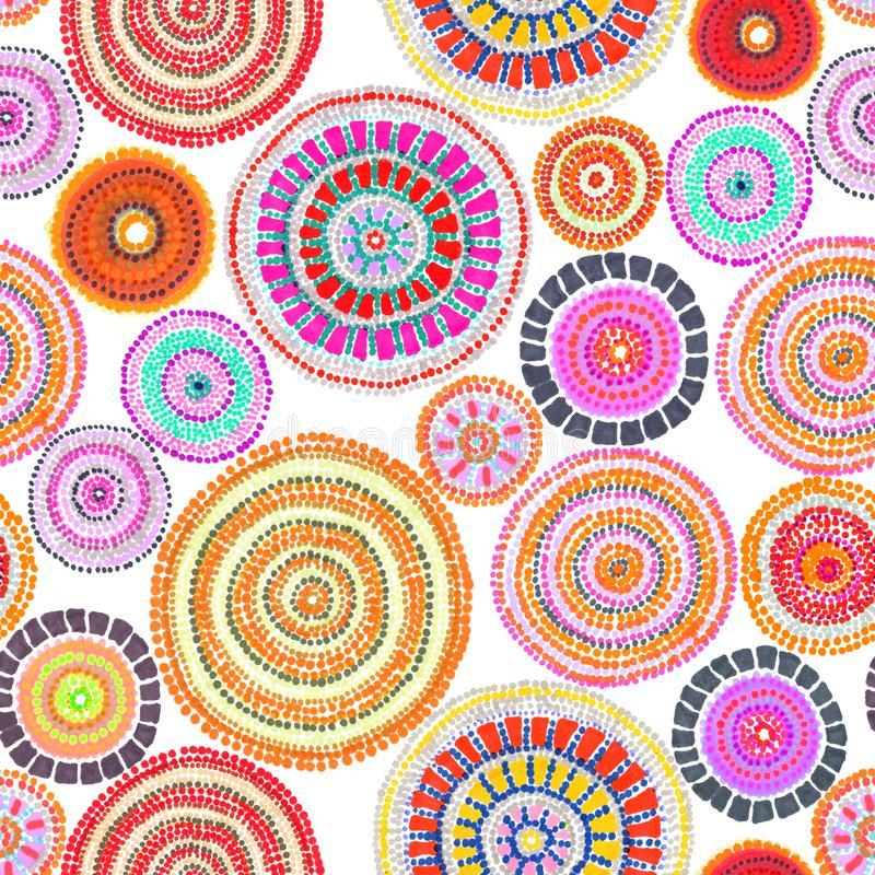 Australian ornament - circle and dots. Seamless background. Hand drawing. Australian ornament with circle and dots. Seamless background. Hand drawing royalty free stock image