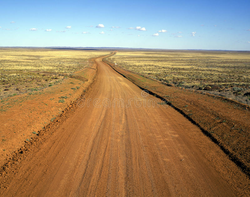 Australian outback dirt road. Australian outback dirt road in far western Queensland royalty free stock images