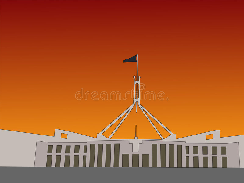 Australian parliament. Building Canbera at sunset illustration royalty free illustration