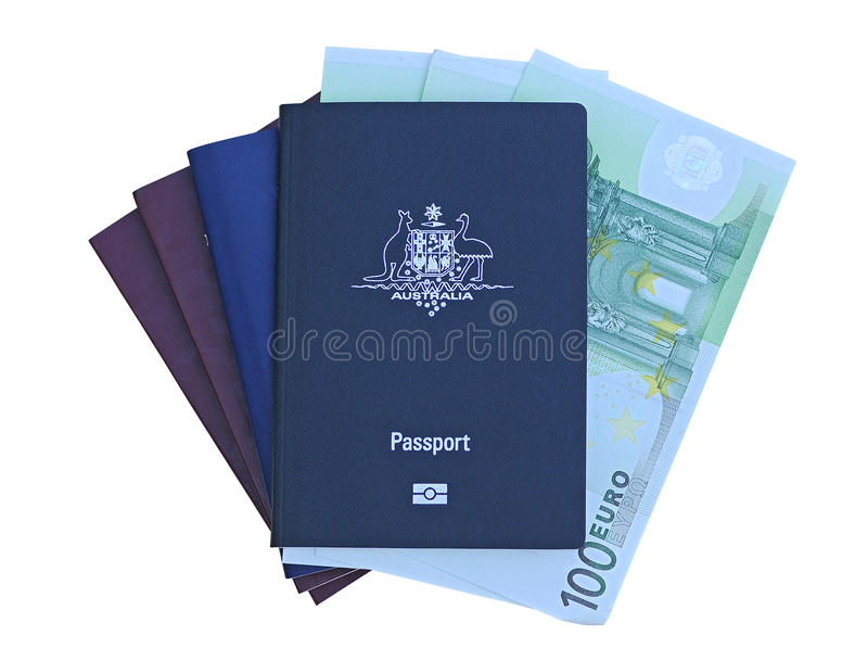 Australian passport with Euros stock photos