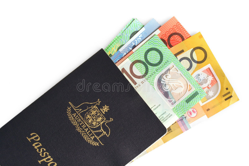 Australian Passport and Money stock photo