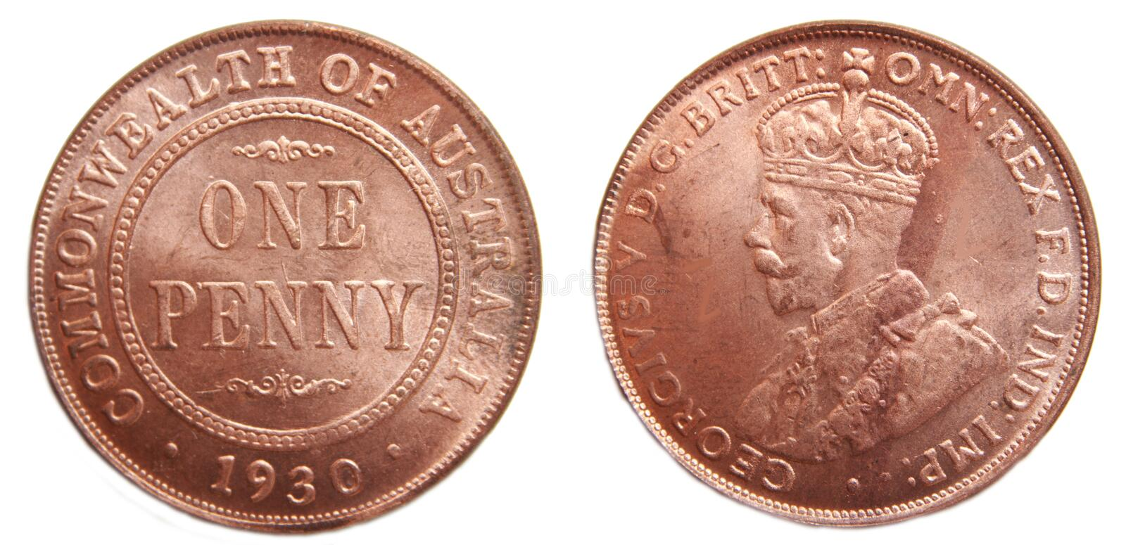 Australian Penny pre-decimal 1930 Rare coin. Australian 1930 Penny pre-decimal rare coper coin on isolated white background stock photo