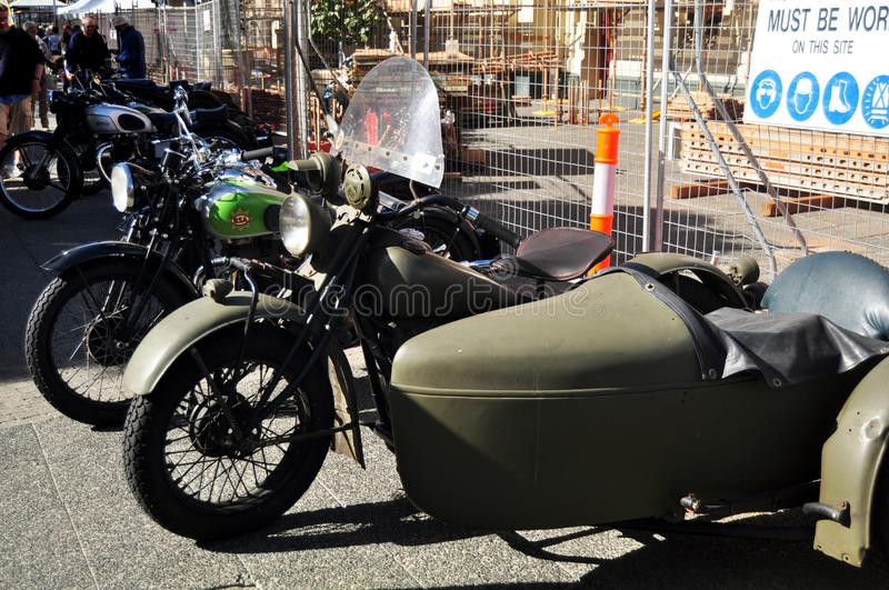 Australian people joining with classic retro motorcycle and car festival stock image