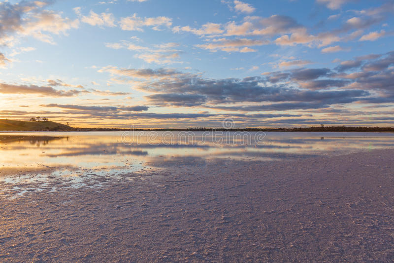 Australian pink salt Lake Crossbie at sunset stock photography
