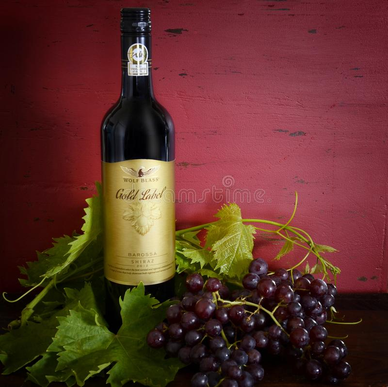 Australian premium export quality Wolf Blass Gold Label Shiraz red wine. stock image