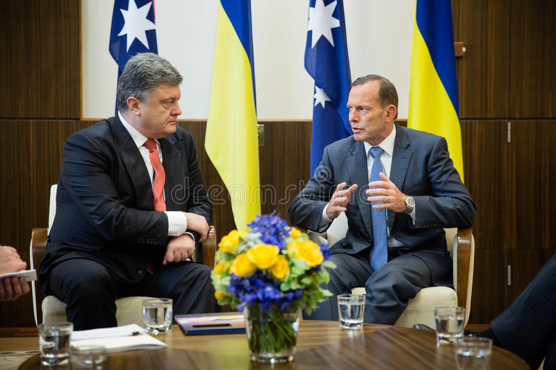 Australian Prime Minister Tony Abbott and President of Ukraine P stock photos