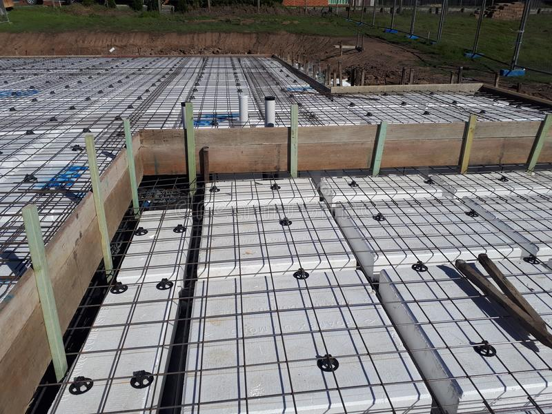 Australian residential footing slab construction incorporating polystyrene waffle pod design stock image