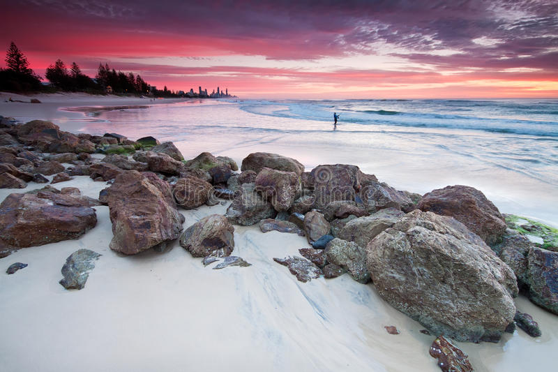 Australian seascape at dawn stock images