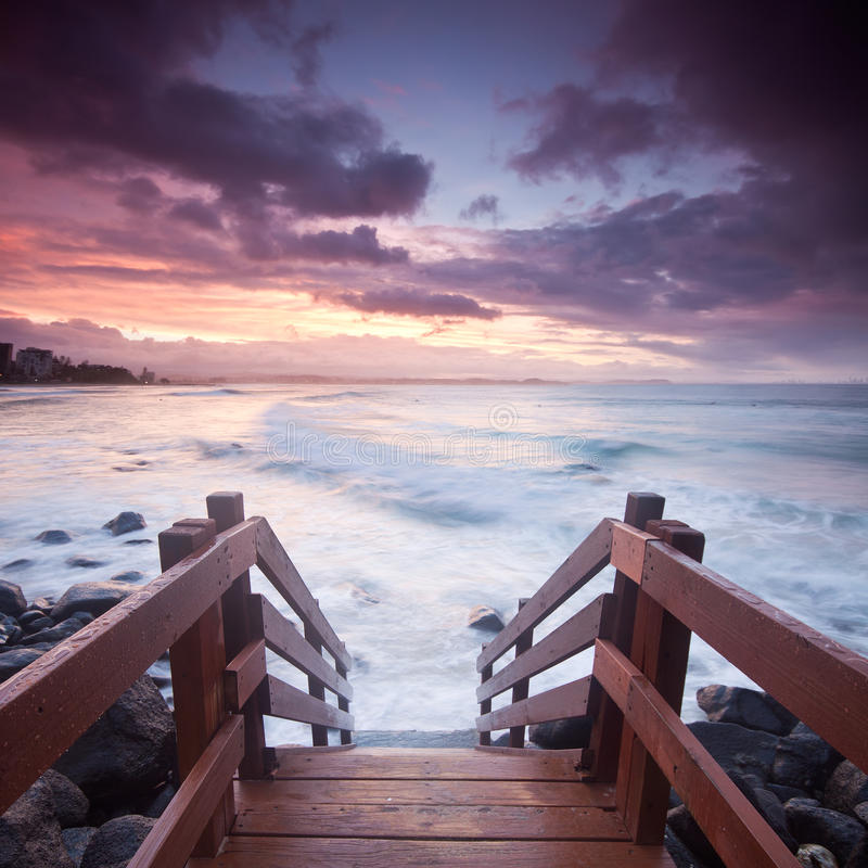 Australian seascape with stairs in foreground stock photography