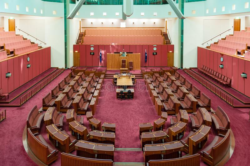 Australian Senate Chamber in Parliament House. Canberra, Australia - March 7, 2009: Australian Senate Chamber in Parliament House royalty free stock photo