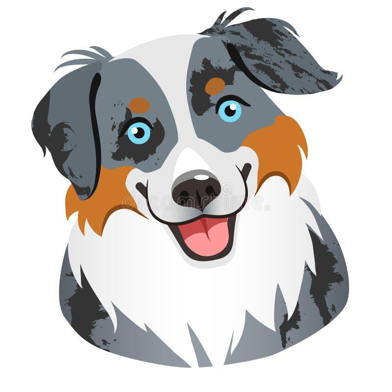 Australian shepherd dog face portrait cartoon illustration. Cut stock illustration