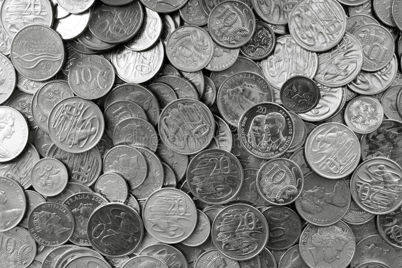 Australian Silver Coins. In full-frame background stock images