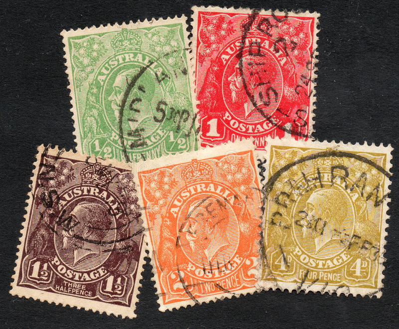 Australian stamps. Stamps of Australia old times stock photography