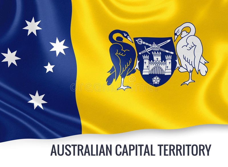Australian state Australian Capital Territory flag. Australian state Australian Capital Territory flag waving on an isolated white background. State name is royalty free illustration
