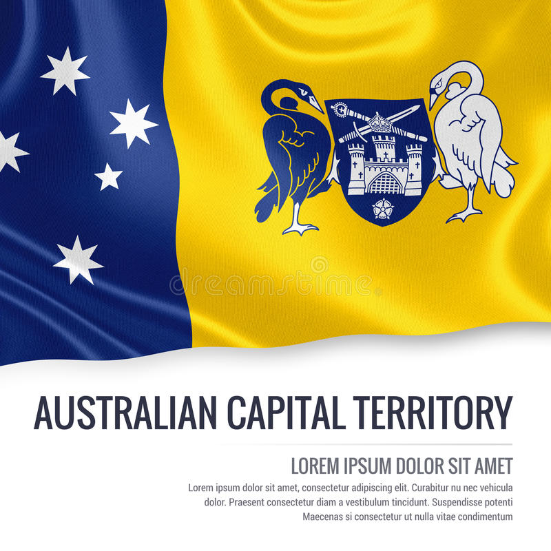 Australian state Australian Capital Territory flag. Australian state Australian Capital Territory flag waving on an isolated white background. State name and stock illustration