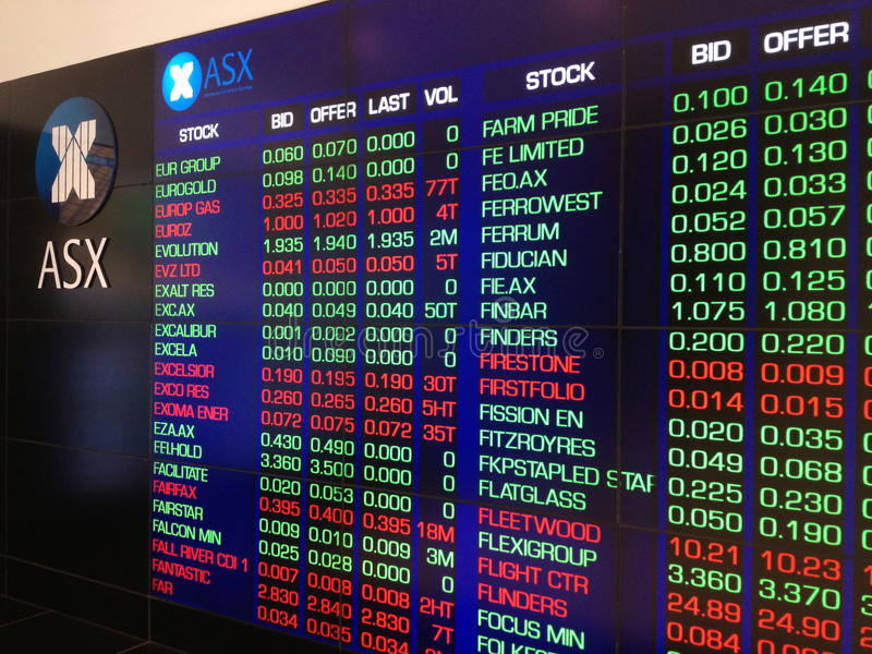 Australian Stock Exchange (ASX) Electronic Display. SYDNEY, AUSTRALIA – October 15: The large electronic display board of the Australian Stock Exchange ( stock photography