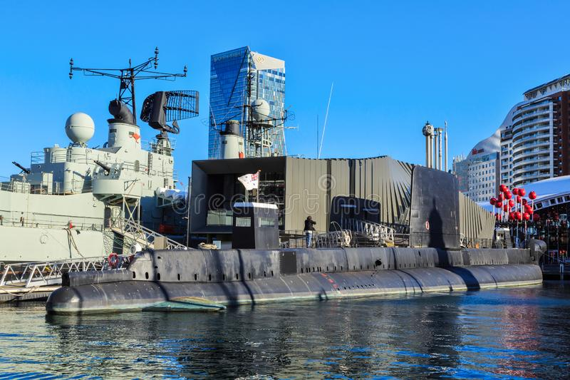 The Australian submarine HMAS `Onslow` next to the destroyer HMAS `Vampire`, Sydney. The Oberon-class submarine HMAS Onslow , commissioned 1969, now a museum stock photography