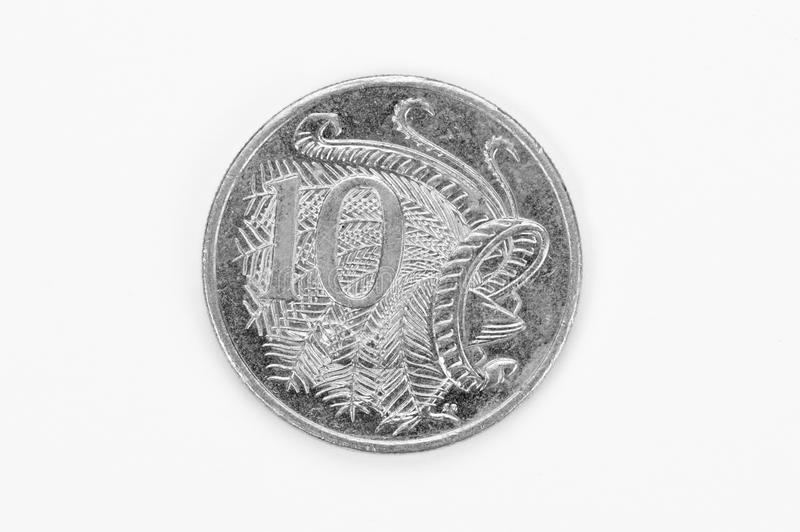 Australian Ten Cent Coin. On white background royalty free stock photography