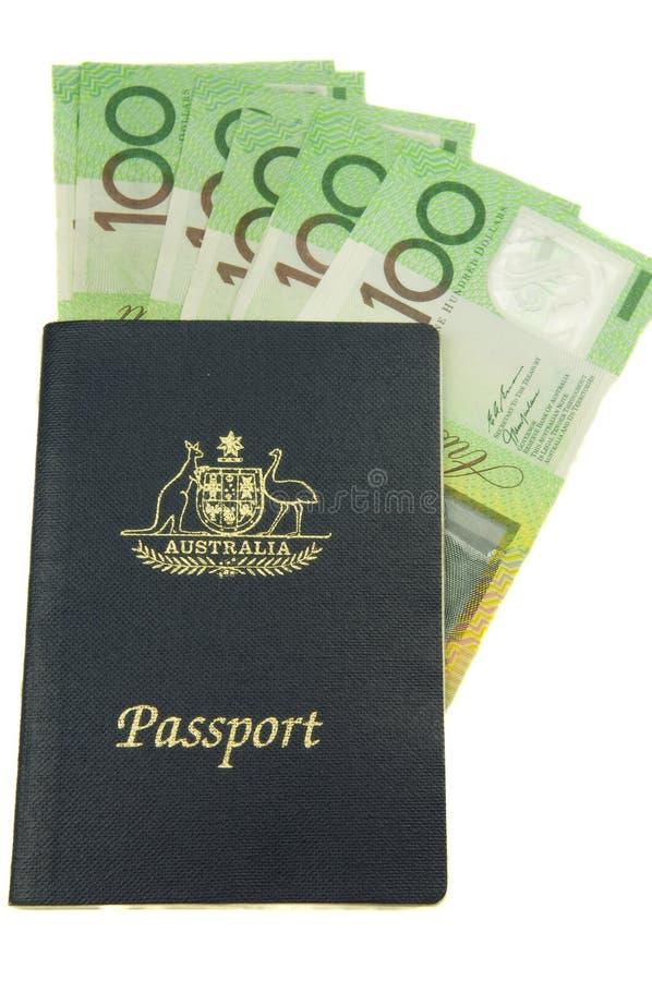 Australian Travel money. Australian passport and cash representing travel money stock photo