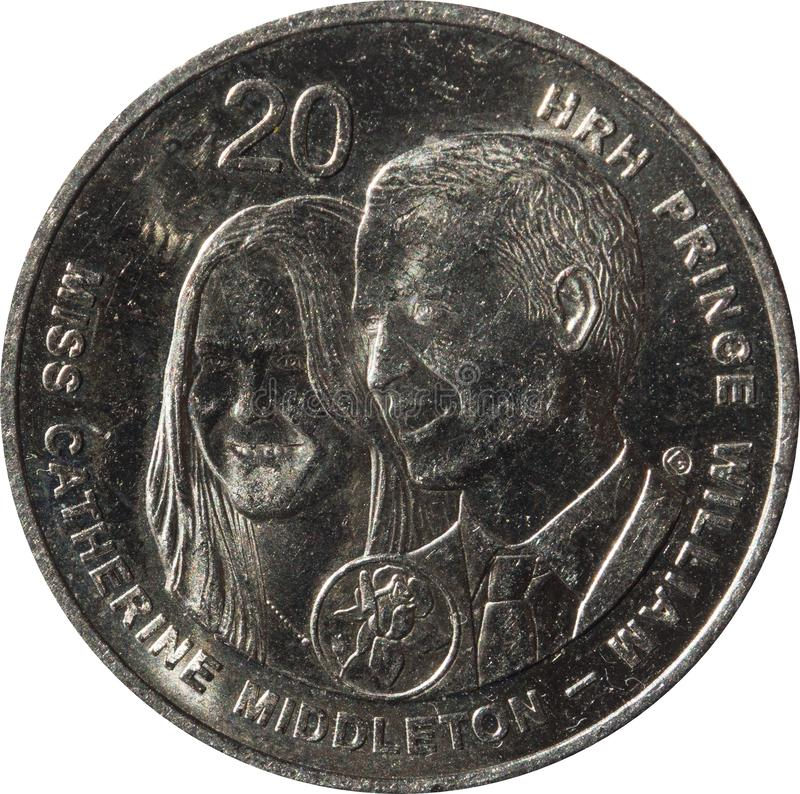 The Australian twenty-cent coin Commemorating the Royal Wedding of Prince William and Catherine Middleton year 2011. Australian twenty-cent coin Commemorating stock photo