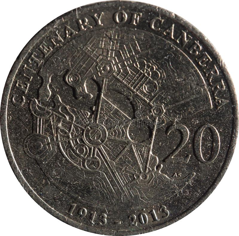 The Australian twenty-cent coin features Commemorating the Centenary of Canberra, Isolated on white background. Australian twenty-cent coin features royalty free stock photos