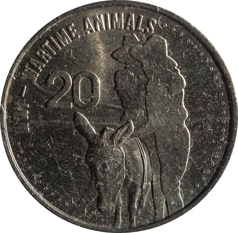 The Australian twenty-cent coin features the WW1 Wartime animals, isolated on white background. Australian twenty-cent coin features the WW1 Wartime animals royalty free stock photography