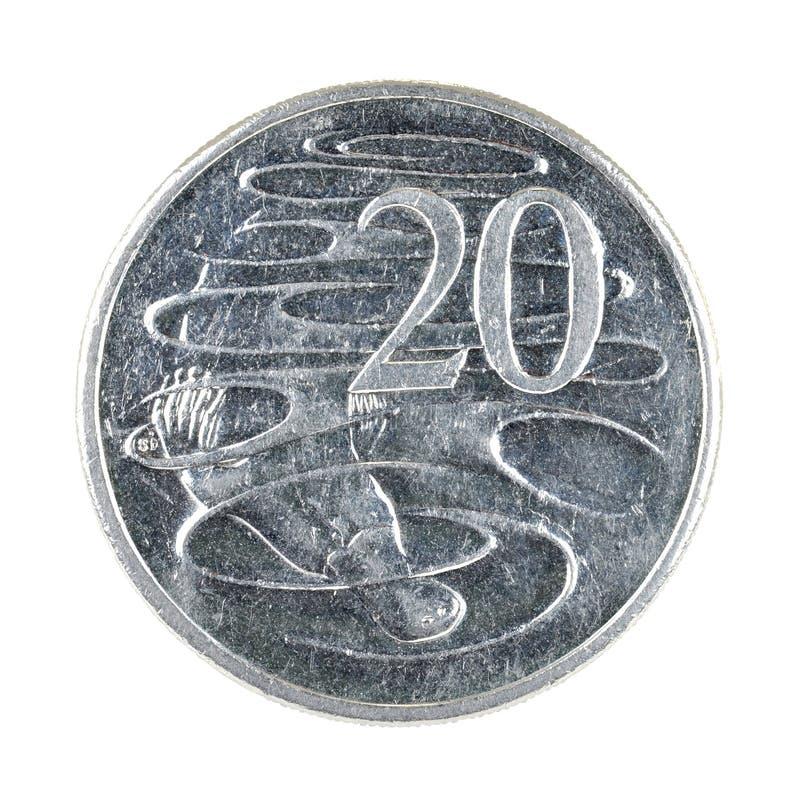 Australian Twenty Cent Coin Isolated on White. Australian currency. Twenty 20 cent coin featuring the Platypus. Isolated on a white background. Money royalty free stock photo