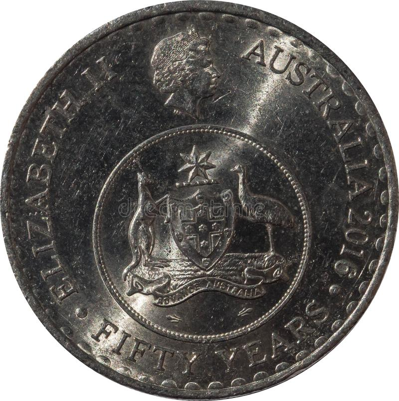 The Australian twenty-cent coin 2016 obverse design to celebrate the 50th anniversary of decimal currency. Australian twenty-cent coin 2016 obverse design to stock photography