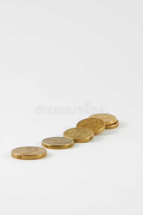 Australian two dollar coins. Isolated on background royalty free stock images