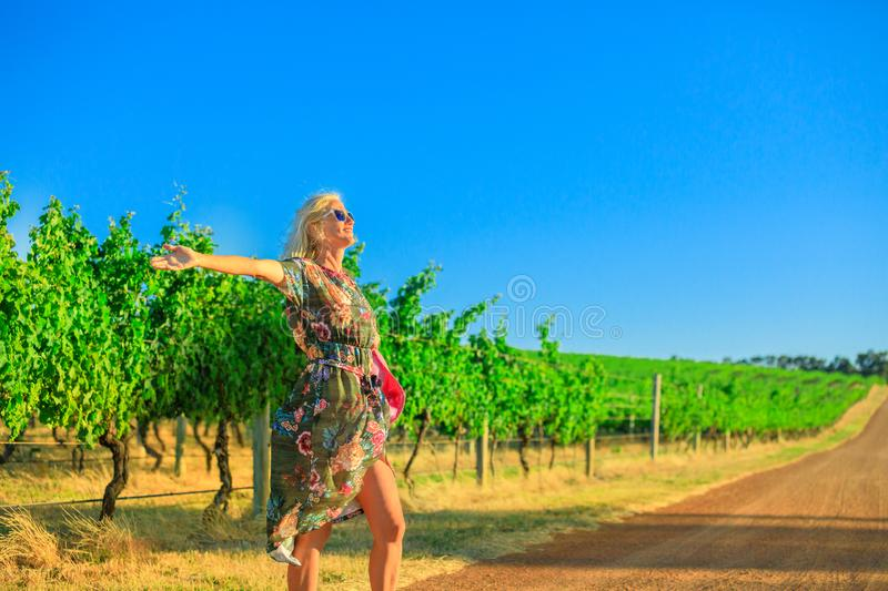 Margaret River Woman enjoys stock image