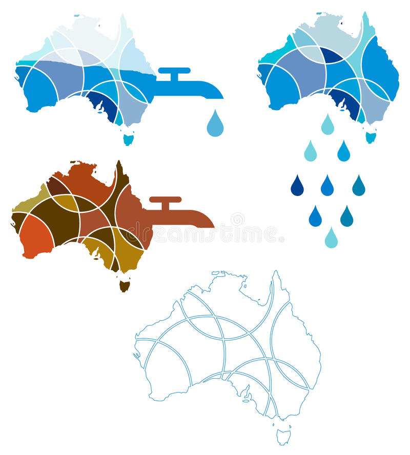 Australian Water Crisis. A conceptual graphic set depicting the water crisis in Australia vector illustration