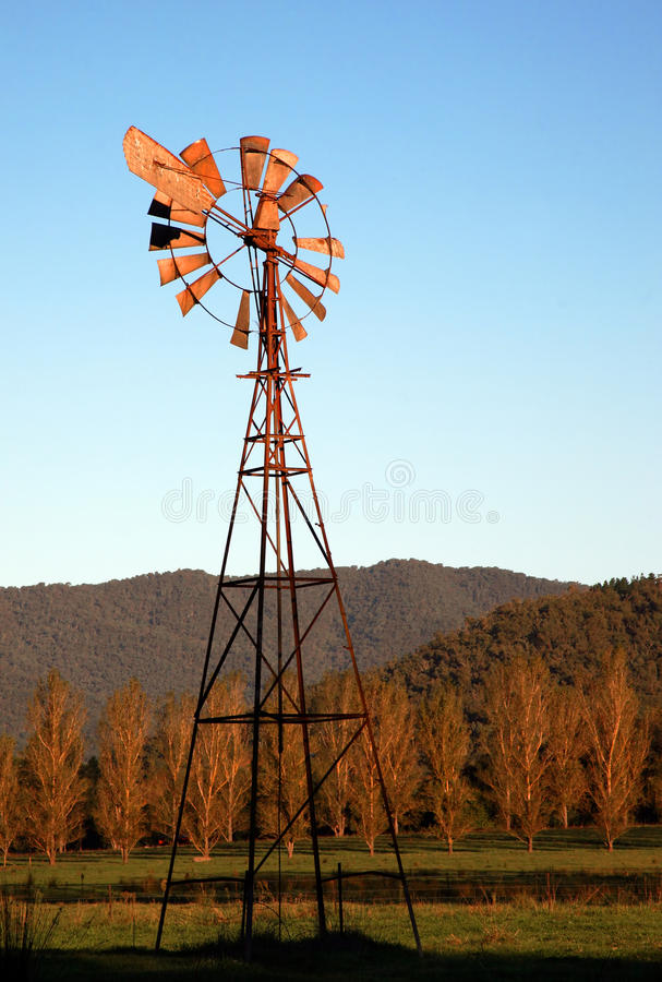Download Australian windmill stock photo. Image of land, silhouette - 25660502
