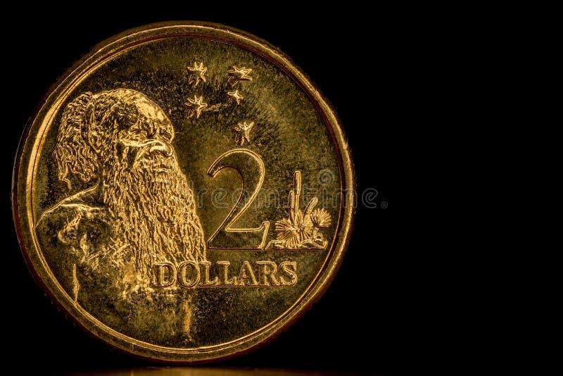 Australiano circulado moeda de 2 dólares imagem de stock