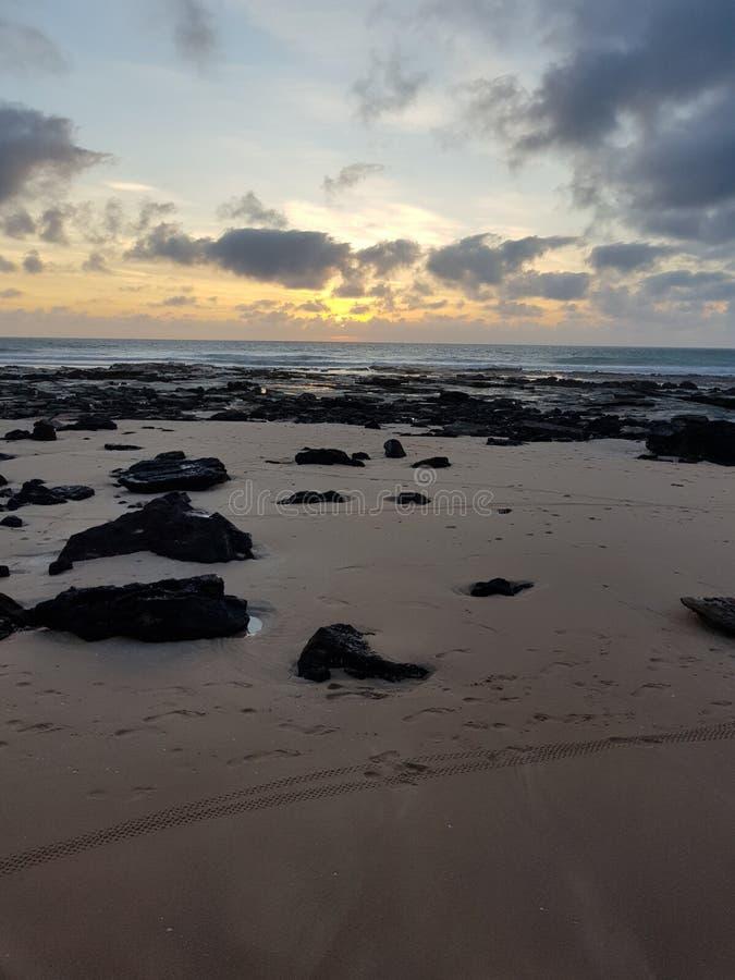 Australiano de Broome de la playa del cable de la puesta del sol interior imágenes de archivo libres de regalías