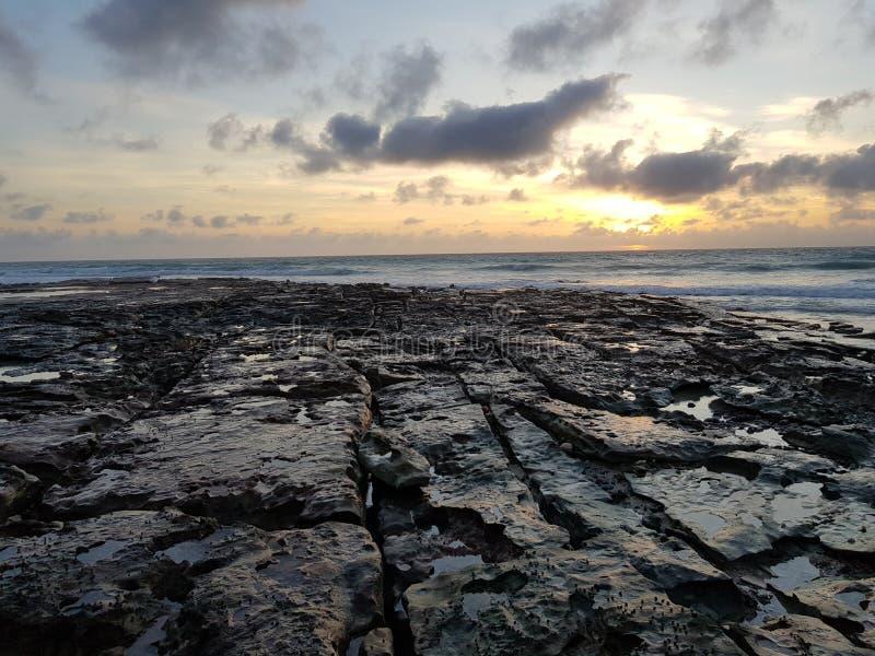 Australiano de Broome de la playa del cable de la puesta del sol interior foto de archivo libre de regalías