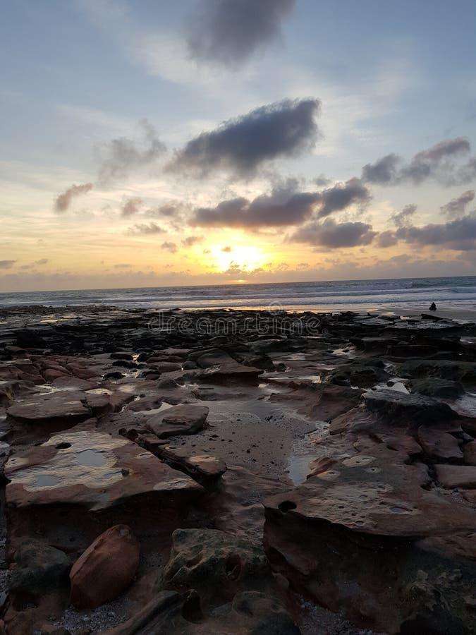 Australiano de Broome de la playa del cable de la puesta del sol interior foto de archivo