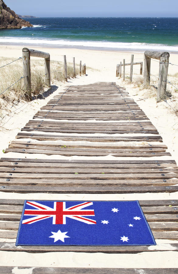 Australiano Mat Beach bem-vindo foto de stock royalty free
