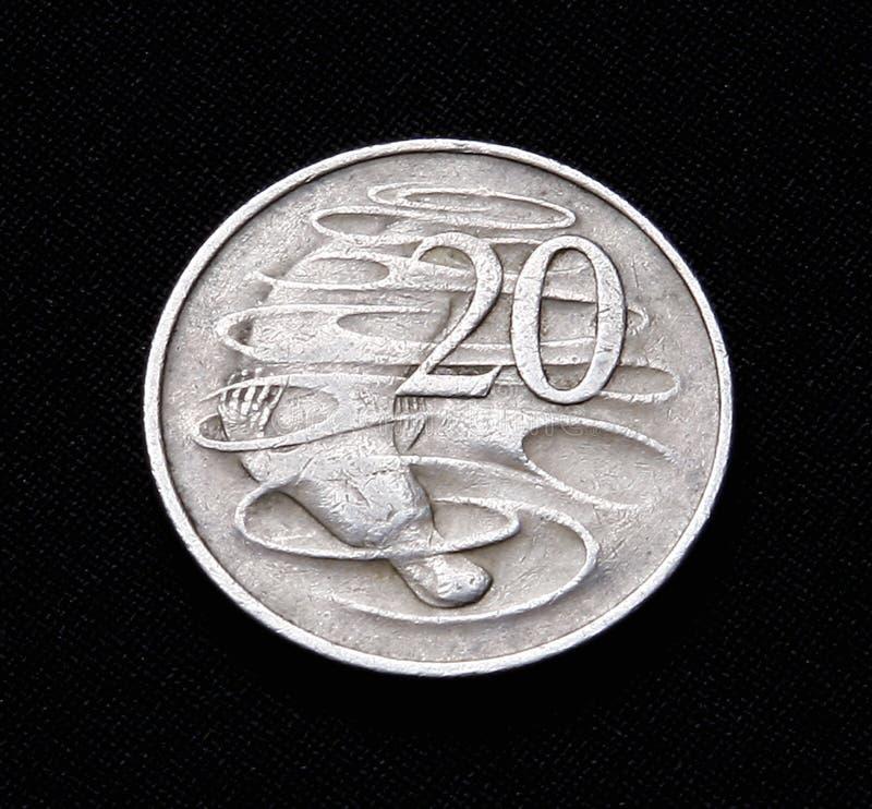 Australiano una moneta dai venti centesimi fotografia stock