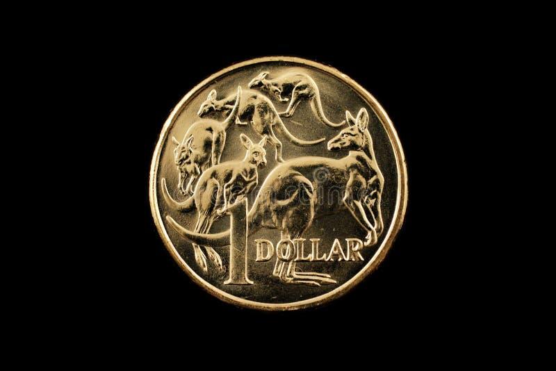 Australiano una moneta del dollaro isolata su un fondo nero immagine stock libera da diritti