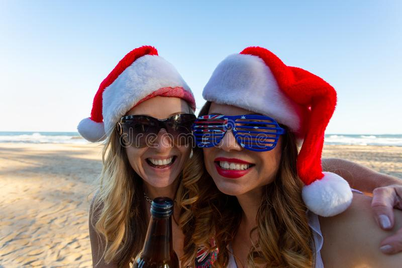Australians having fun at Christmas time stock photography