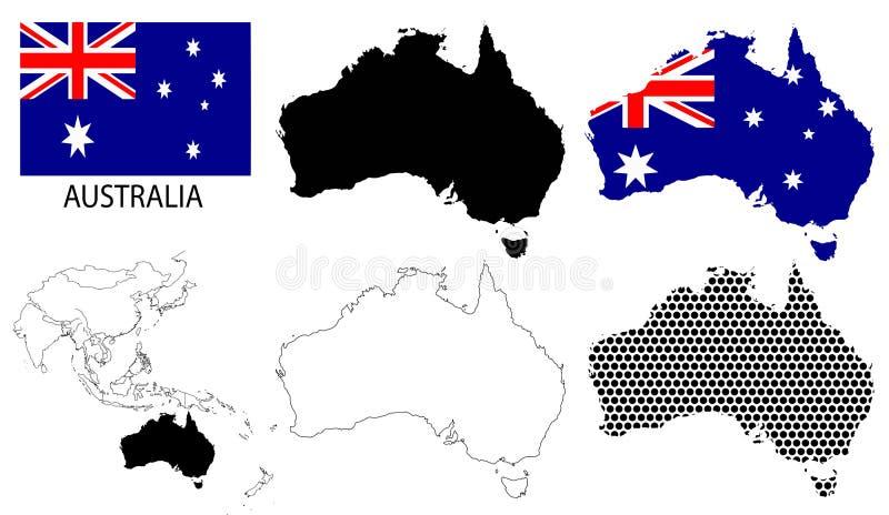 Australie - cartes de découpe, drapeau national et vecteur de carte de l'Asie illustration libre de droits