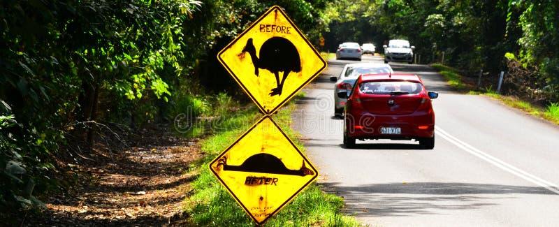 Australie d'avertissement du Queensland de connexion de casoar photos libres de droits