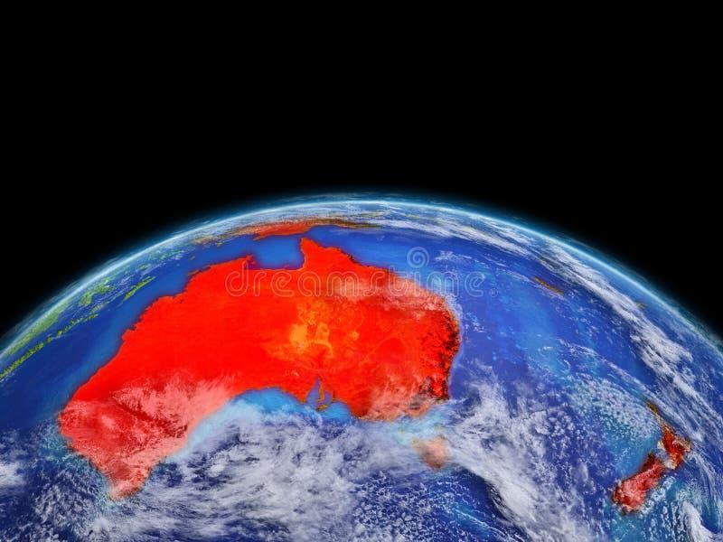 Australie en rouge sur terre illustration de vecteur