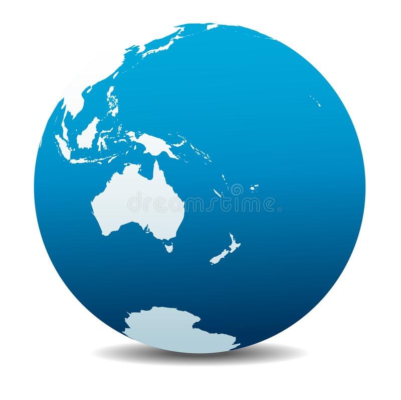 Australie et le Nouvelle-Zélande, icône du globe du monde illustration stock