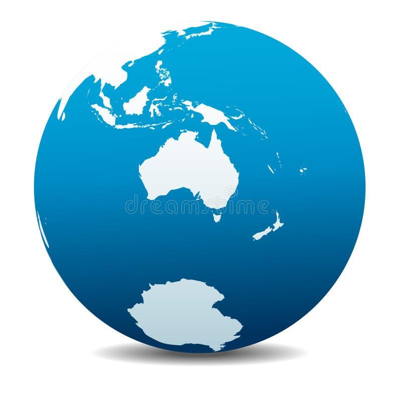 Australie et le Nouvelle-Zélande, Pôle du sud, Antarctique, monde global illustration stock
